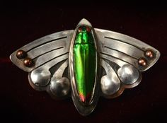 1900-10s Arts & Crafts Abstracted Butterfly Brooch, Copper & Silver and Natural Beetle Shell