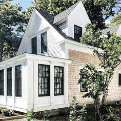 houses fir sake white cedar shingles, plack roof and black windows Café Exterior, Cape Cod Exterior, Exterior Colors, Exterior Design, Exterior Paint, Dutch Colonial Exterior, Dutch Colonial Homes, Exterior Shutters, Exterior Stairs