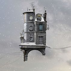 New Flying Houses Hover Above Paris by Laurent Chéhère | Colossal