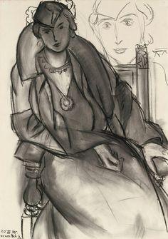 Henri Matisse - Etude pour ''Portait au Manteau Bleu'' - Charcoal on paper, 1935.