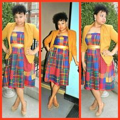 JVC outfit(paid patchwork dress with mustard blazer)