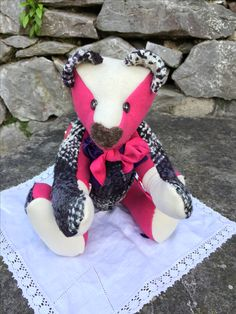 Handmade memory bear, a gift created from a loved ones clothing. Memorial gift. #memorybears #upcycling