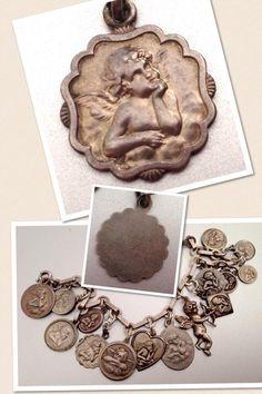 Antique Art Nouveau Silver & Enamel Raphael's Angel Cupid Cherub Charm