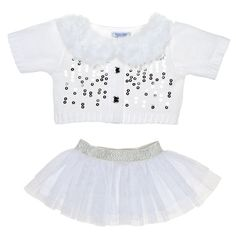 White Sequin Sweater & Skirt Outfit 2 pc. - Build-A-Bear Workshop US