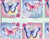 Vintage Butterflies Tossed Pink cotton fabric from Studio E By the yard. $9.25, via Etsy.