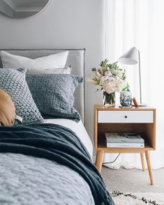 How to design your home: 60 best decoration ideas - Master Bedroom Design & Guest Bedroom Design - Bedrooms Neutral Bedroom Decor, Modern Bedroom Decor, Scandinavian Bedroom, Blue Bedroom, Bedroom Ideas, Bedroom Furniture, Linen Bedroom, Cozy Bedroom, Master Bedroom