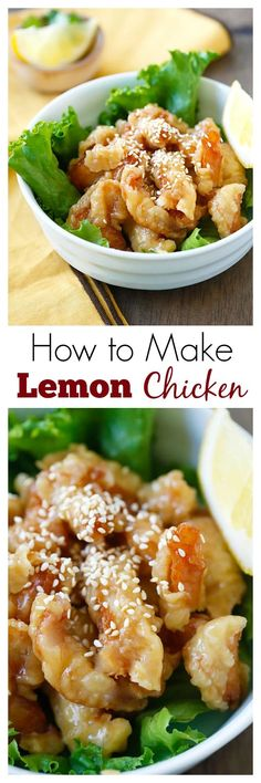 Lemon Chicken - super crispy chicken in yummy and citrusy lemon sauce. This is so good with rice. Learn how to make it | http://rasamalaysia.com
