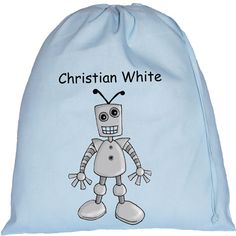 Personalised Robot Large Blue Drawstring Bag