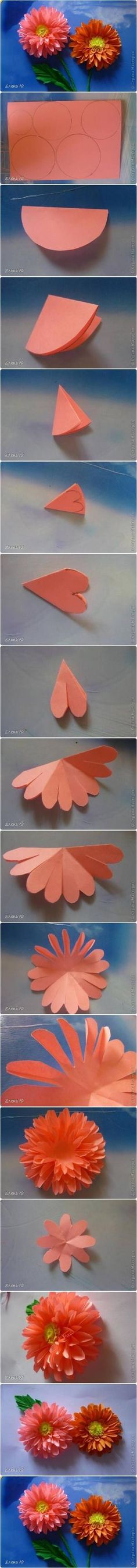 How to Make Paper Dahlias #craft #paper #flower by oldrose