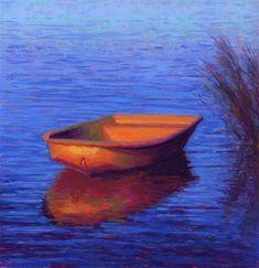 "Daily Paintworks - ""Evening Solitude Golden Dinghy Pastel Painting by Poucher"" - Original Fine Art for Sale - © Nancy Poucher"