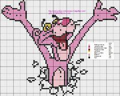 A la demande de Monique, voici la panthére rose en grille plus petite pour le tricot :