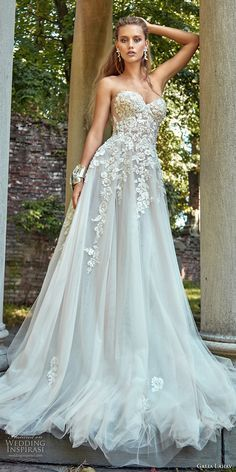 galia lahav fall 2017 bridal strapless sweetheart neckline heavily embroidered bodice tulle skirt romantic sexy a line wedding dress chapel train (gia) mv #wedding #bridal
