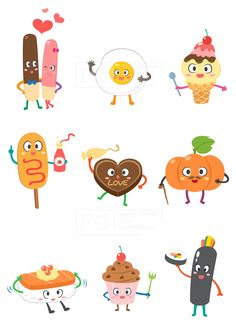 SILL188, 푸드캐릭터, 캐릭터, 푸드, 음식, 요리, 벡터, 에프지아이, 스티커, 빼빼로, 계란후라이, 아이스크림, 핫도그, 케이크…
