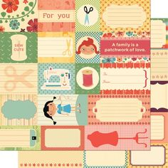 """""""A Family is a Patchwork"""" :-) Scrapbook paper by Material Girl from Cosmo Cricket #labels"""