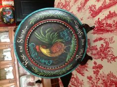 "Beautiful 14"" Plate Turned by Paul Loftness that I Painted with a Jo Sonja design"