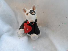 Bull Terrier Valentine Sculpture Polymer Clay Mini by by theWRC