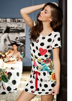 5fd18b9c9c Desigual♪ルームウェア!!Nightdress Polka Dots 51NL0D0
