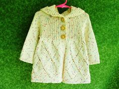 Knitting Jacket For Girl : Hand knit girls clothes toddler hoodie size t cotton