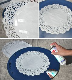 Mirror (framed or unframed), paper doily, frosted glass finish spray, double-sided tape