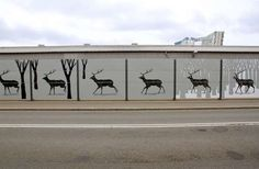 This Stunning Deer Murals Looks Like Animated Animal Art to Drivers #streetart trendhunter.com