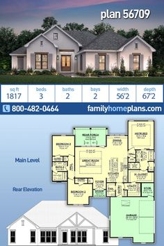 Traditional Style House Plan 56709 with 3 Bed, 2 Bath, 2 Car Garage Ranch House Plans, Craftsman House Plans, New House Plans, Dream House Plans, Small House Plans, House Floor Plans, House Plan With Basement, Retirement House Plans, One Story Homes