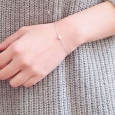 New Fashion Silver Plated Heart Bracelet Delicate Simple Silver Chain Bracelet, Valentine's Day Gift For Her SH055