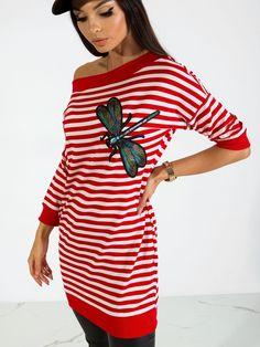 Tunika s pásikami červená Shirt Dress, T Shirt, Outfit, Dresses, Products, Fashion, Tunic, Supreme T Shirt, Outfits
