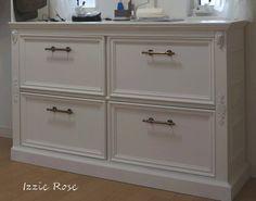 4 steps of DIY instruction how to make a french & antique style - shabby chic chest of drawers.『DIYでシャビーシックなインテリア&ガーデニング』スライドレール付き引き出しのチェストをDIY