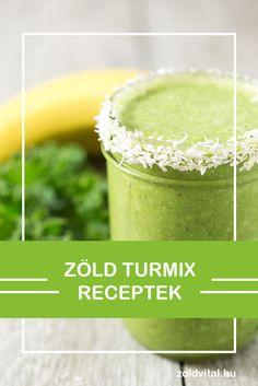 Zöld turmix receptek minden mennyiségben. Zöld turmixok manapság nagy népszerűségnek örvendenek. Nem csoda, hisz nem csak finomak de jótékony hatásokkal is rendelkeznek. Smoothies, Vitamins, Favorite Recipes, Meals, Kitchen, Food, Smoothie, Cooking, Meal