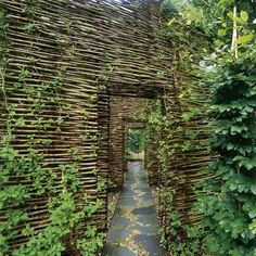 Rustic woven fence installation