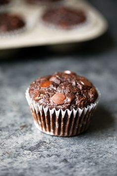 Chocolate zucchini muffins get a healthy makeover! Made with whole wheat flour and no butter or refined sugars (besides chocolate chips). You're going to love these perfectly moist, insanely delicious muffins!