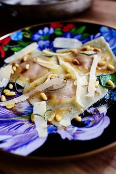 I had leftover pumpkin after making a cake. I also had wonton wrappers, butter, garlic, Parmesan, pine nuts, and sage. The result was quick-and-easy Pumpkin Ravioli and a whole lot of happiness on my part!