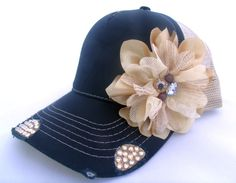 Jeweled Flower Trucker Hat Embellished With by VelvetSpadeDesigns, $36.00
