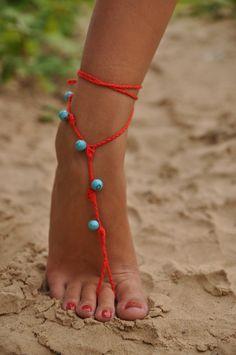Rojo Crochet sandalias Descalzas con piedras preciosas de color turquesas, zapatos Nude, joyería de los pies, boda, Victorian Lace, Sexy, Yo...