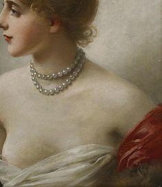 """""""Portrait de femme """" (Détail) Jules Frédéric Ballavoine (1855-1901)."""