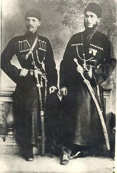 """Inal/Paragulgov-left """"Vainakh(Galgai)"""" And Prince Levan/Anchabadze(Abkhazia)  Juncker Inal/Paragulgov in the 1880s. He served as an interpreter in Tiflis in the Caucasian/region (there is historical data), on the right, his friend - Prince Levan Anchabadze. Photo is dated approximately con. 1880 - the beginning of the 1890s."""
