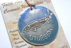 Created for Discovery World Museum, Milwaukee, WI. STURGEON handmade ceramic ornament gift idea by FaithAnnOriginals, $24.00