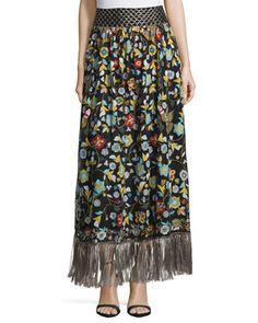 Kamryn+Floral+Fringe-Trim+Maxi+Skirt,+Black/Multicolor+by+Alice+++Olivia+at+Bergdorf+Goodman.