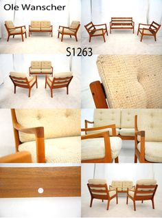 Vintage Danish teak suite designed by Ole Wanscher for France & Son