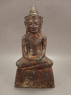 18th.c Chiang Sean Bronze Buddha Statue amulet Burma Burmese style Buddhist