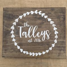 Wedding Gift Custom Wooden Sign with Last