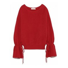 Red Bow Tie Detail Flare Sleeve Knit Sweater (105 BRL) ❤ liked on Polyvore featuring tops, sweaters, red knit top, knit sweater, tie sweater, red sweater and red top