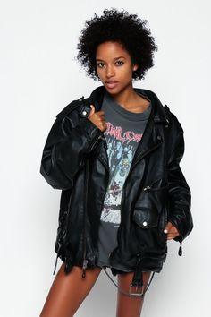 Manteau de cuir moto veste Biker 80 s noir Moto des par ShopExile