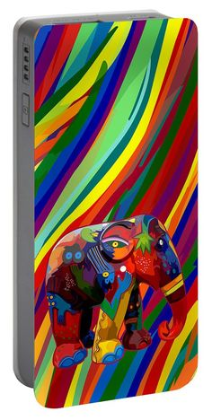Full Color Abstract Elephant Portable Battery Charger Available for @pointsalestore #portablebatterycharger #case #aztec #pattern #fullcolor #abstract #art #painting #digitalpainting #floral #animals #elephant #thailandelephant