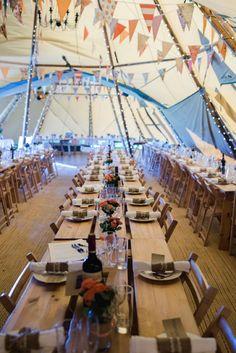 Long Tables Bunting Orange Festival Tipi Bluebell Woods Wedding http://alexa-loy.com/