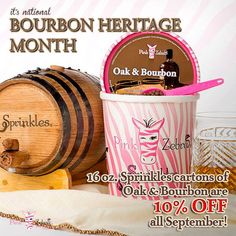 September is National Bourbon Heritage Month 16oz. Sprinkles cartons of Oak & Bourbon are 10% OFF all September!! To Order: http://zebracandlesprinkles.com