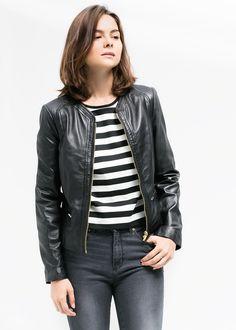 9f848ca40ea Zip leather jacket - Woman