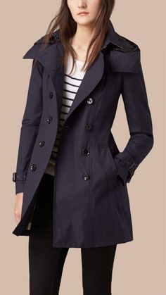 Navy Hooded Trench Coat with Warmer 3