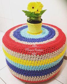 Puff de pneu e fio de malha. Siga-nos no Instagram @maisonrustique Trapillo / ganchillo / Tshirt yarn