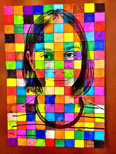 Welcome to the grade: Self-portrait: grid drawing Arte Pop, Middle School Art, Art School, Group Art Projects, Jr Art, Art Classroom, Art Club, Art Plastique, Elementary Art